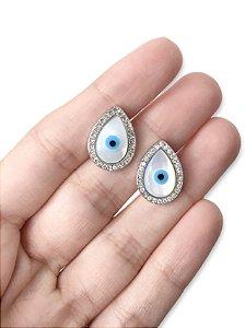 Brinco gota madrepérola olho grego cravejada zircônia