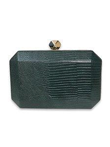 Clutch croco verde fecho metal dourado