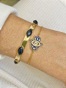 Bracelete dourado com resina