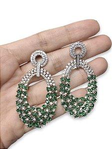 Brinco cravejado zircônia gotas verde esmeralda