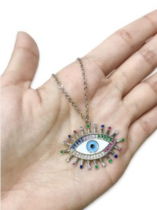 Colar olho grego esmaltado cravejado com zircônias
