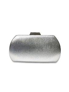 Clutch prateada fecho metal prata