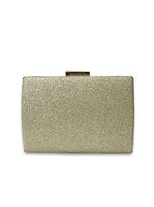 Clutch purpurina dourada metal dourado