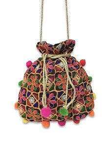 Bolsa indiana flores color com pompom