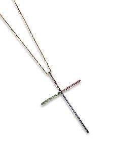 Colar cruz cravejado color