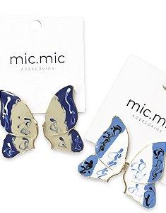 Brinco borboleta azul esmaltada