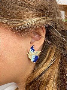 Brinco borboleta azul esmaltada tricolor