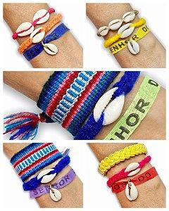 Kit pulseiras color tecido