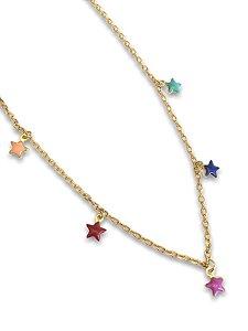 Colar dourado detalhes estrelas esmaltadas color