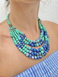 Colar bolas murano verde-água com azul