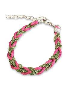Pulseira pink com corrente verde