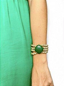 Pulseira bolas dourada com detalhe resina verde