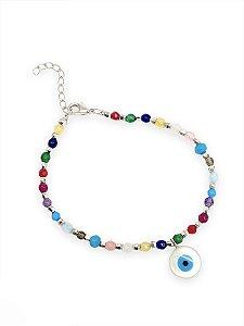 Pulseira cristais color olho grego madre-pérola