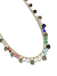 Colar fio pingentes medalhinhas coração com cristais color