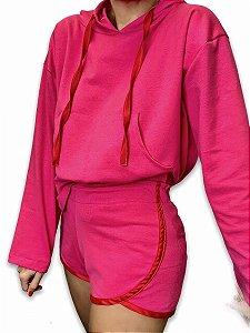 Conjunto moletom fita cetim - casaco + short