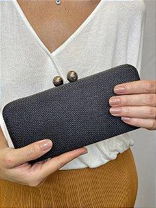 Clutch tecido fecho bolas