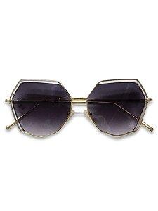 Óculos hexagonal dourado lente degradê