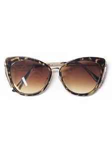 Óculos gatinho tartaruga detalhe dourado lateral