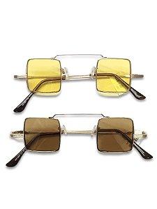 Óculos quadrado dourado