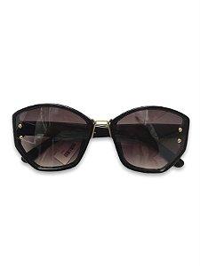 Óculos hexagonal preto lente degradê detalhe dourado