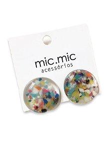 Brinco botão resina transparente pedaços de borracha colorida
