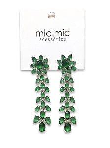 Brinco flor verde esmeralda zircônia