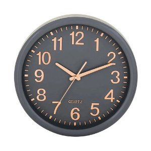 Relógio De Parede Mart Cinza Rose Gold Decorativo Redondo