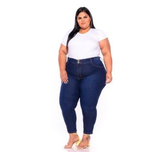 Calça Jeans Stretch Bordada Stone Com Used Plus Size 44 ao 70 - 3243