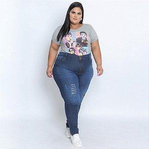 Calça Jeans Stretch c/ Puido e Rasgado na Frente Feminina Plus Size 68 ao 70 3188