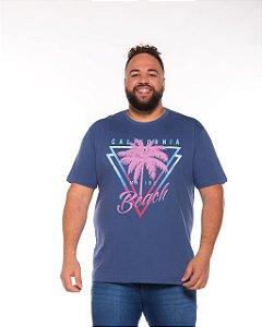 Camiseta Masculina Estampada Califórnia Beach Azul Plus Size XP Ao G5 512