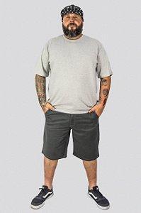 Bermuda de Sarja Stretch Masculina Plus Size Cinza