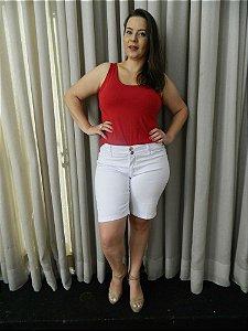 Bermuda Branca Sarja Stretch  Feminina Plus Size Pequenos Defeitos