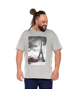 Camiseta Masculina Estampada Torre Cinza Plus Size XP ao G5