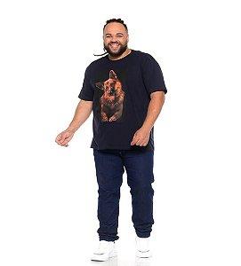 Camiseta Masculina Estampada Dog Marinho Plus Size XP ao G5