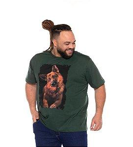 Camiseta Masculina Estampada Dog Verde Plus Size XP ao G5