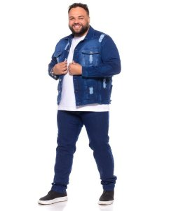 Jaqueta Masculina Moleton Jeans C/ Elastano Lavagem C/ Rasgado Plus Size 2212