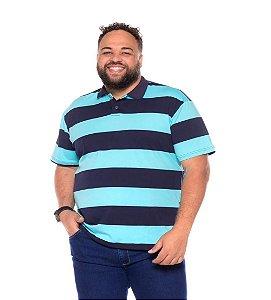 Camiseta Gola Polo Listrada Plus Size Masculino Marinho Com Azul Claro XP Ao G5