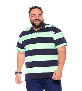 Camiseta Gola Polo Listrada Plus Size Masculino Marinho Com Verde  XP Ao G5