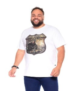 Camiseta Masculina Estampada Route 66 Branca Plus Size XP ao G5