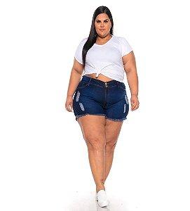 Short Jeans Stretch Lavagem Destroyer Desgastes Naturais C/ Bordado Bolso Traseiro  44 Ao 70 3247