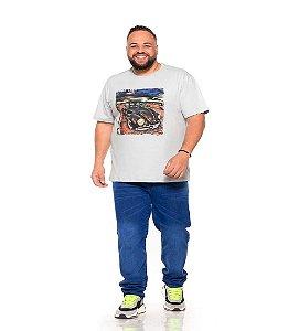 Camiseta Estampada Masculina Fusca Cinza Plus Size XP ao G5