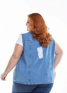 Colete Jeans Femininos Rasgado Claro 3260