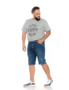 Camiseta Estampada Masculina AC/DC Cinza Plus Size XP ao G5