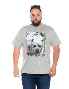 Camiseta Estampada Masculina Pitbull Cinza Plus Size XP ao G5