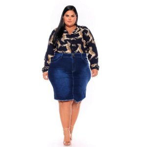 Saia Jeans Secretaria Stretch Stone Escura com Used Barra Desfiada 62 ao 70 3217