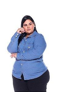 Camisa Jeans Stretch Manga Longa Feminina Plus Size  3180