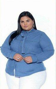 Camisa Jeans  Stretch Manga Longa Gola Laço Feminino Plus Size 3170
