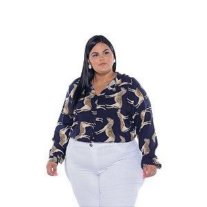Camisa Feminina Viscose Estampada Zebra Plus Size XP ao G5