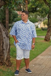 Camisa Masculina Estampada de Linho Azul Plus Size  2033