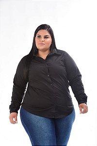 Camisa de Tricoline Feminina Stretch  Preta Plus Size 3150